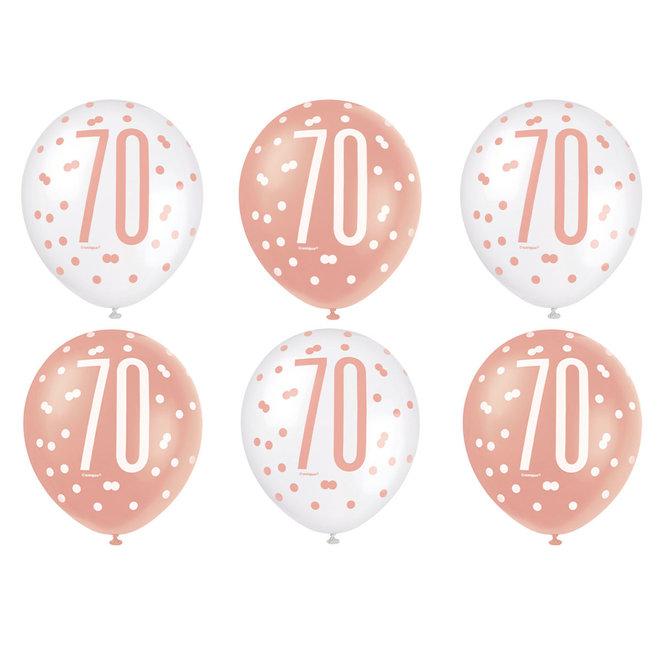 Ballonnen 70 Jaar Rosé Goud & Wit 30CM (6ST)