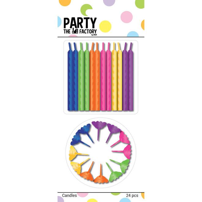 Taartkaarsjes Multicolor + Houder 24ST