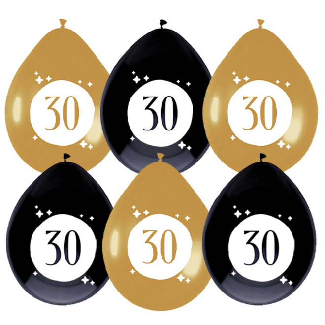 Ballonnen Festive Gold 30 Jaar 30CM (6ST)