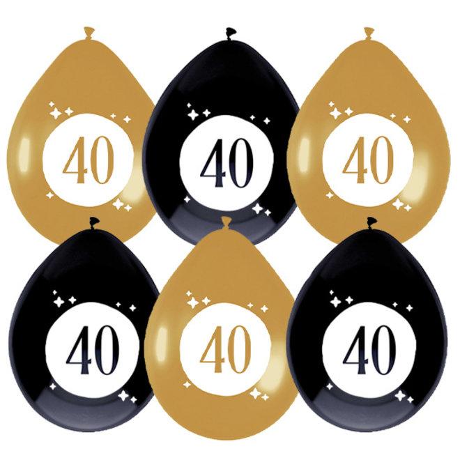 Ballonnen Festive Gold 40 Jaar 30CM (6ST)