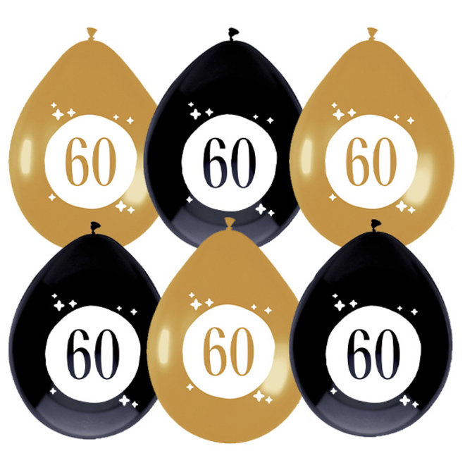 Ballonnen Festive Gold 60 Jaar 30CM (6ST)