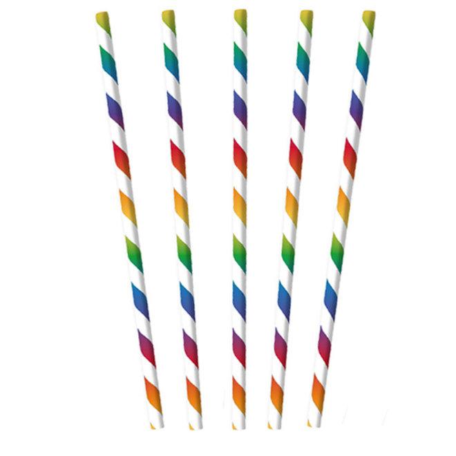 Papieren Rietjes Rainbow Mix 12ST