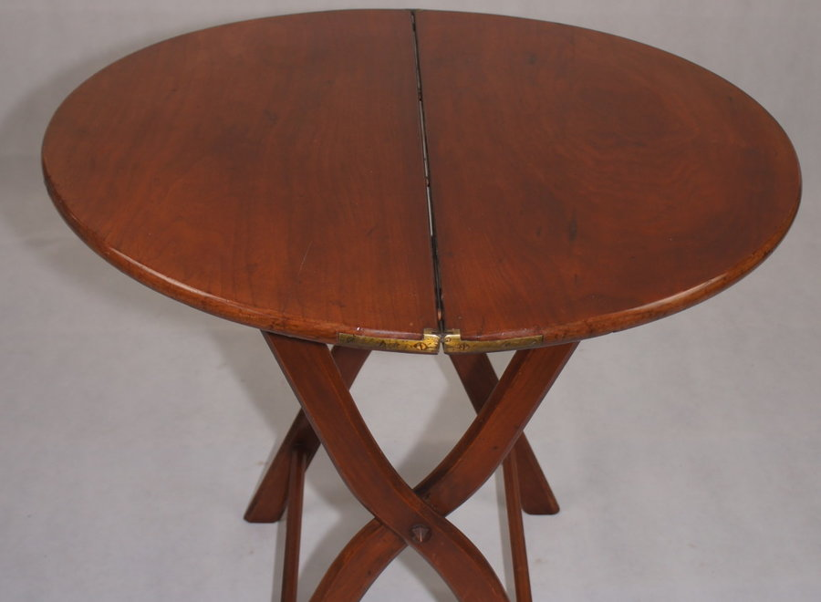Round walnut folding wine table