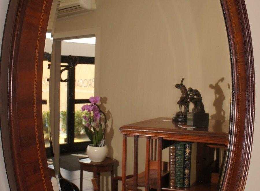 Prachtige ovale Edwardian mahonie kader met geslepen spiegel