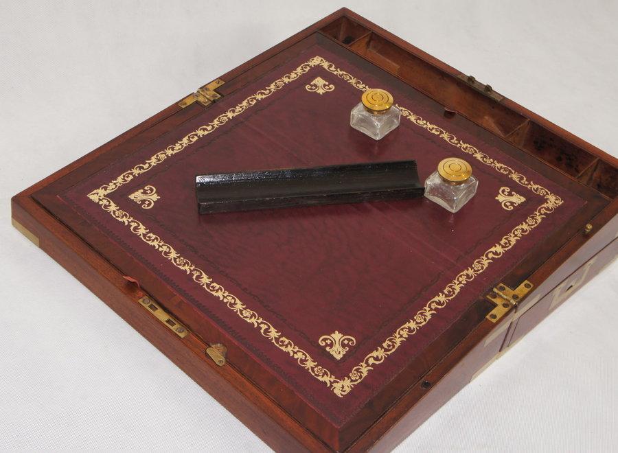Victorian travel writing desk in mahogany