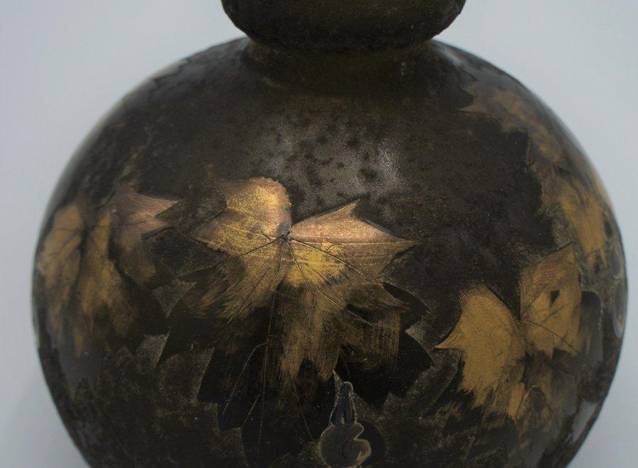Pâte de verre vaas met vergulde bladeren - Begin 20° Eeuw