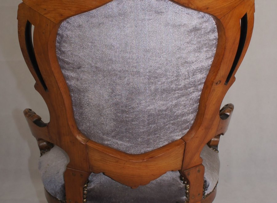 French armchair in burr walnut - Louis -Philippe