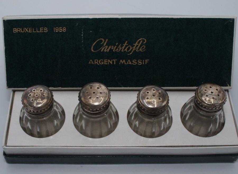 De glazen zoutvaten hebben een dop in .925 zilver - Brussel 1958