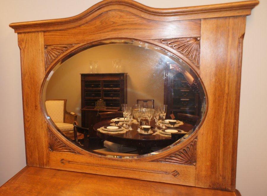 Solid oak frame with faceted mirror