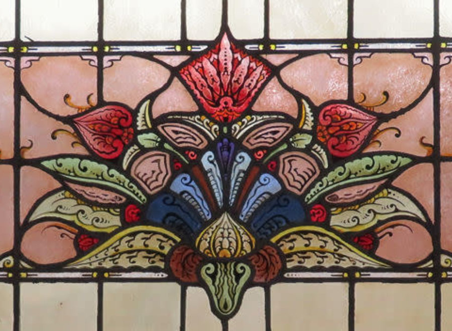 Amsterdam school stained glass window - Ca 1918