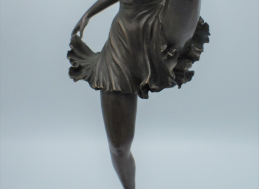 "Art Deco statue of dancer signed ""Bruno Zack"""