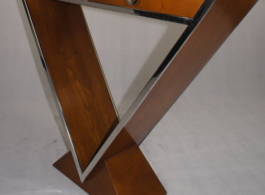 Elegant wall table with 2 drawers in wood and chrome