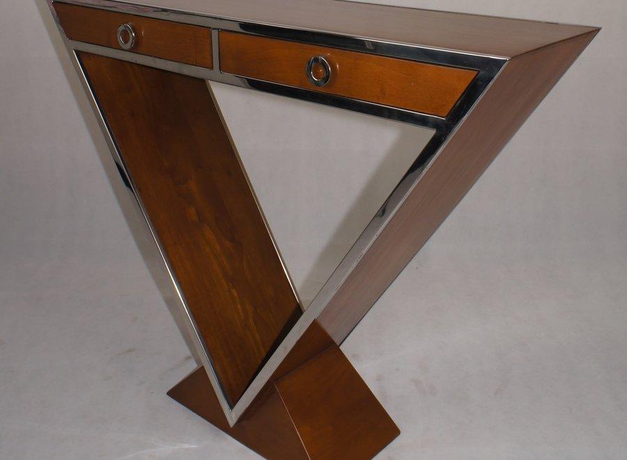 Elegante wandtafel met 2 schuiven in hout en chroom