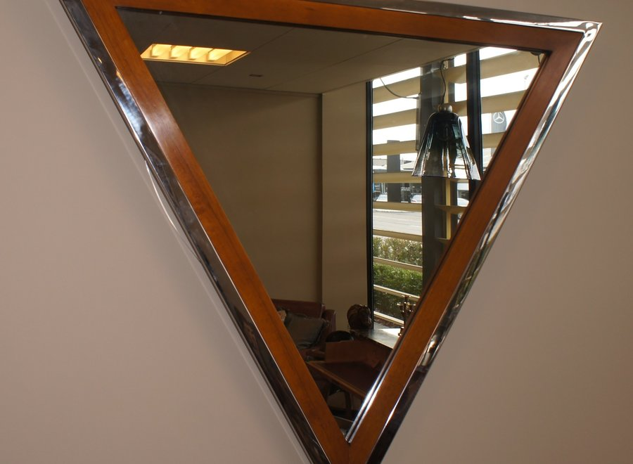 Wooden frame mirror with additional elegant chrome finish