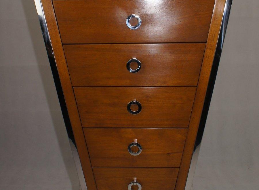 Houten hoge dressoir met 6 lades