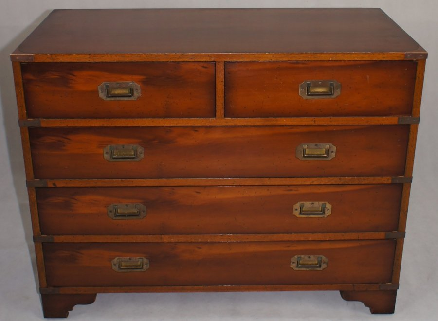 Nautical chest of solid teak with brass moldings