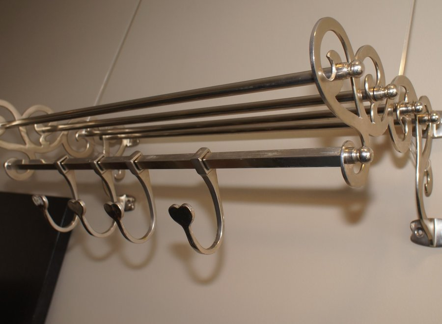 Handmade French coat rack in chromed metal - Ca 1950