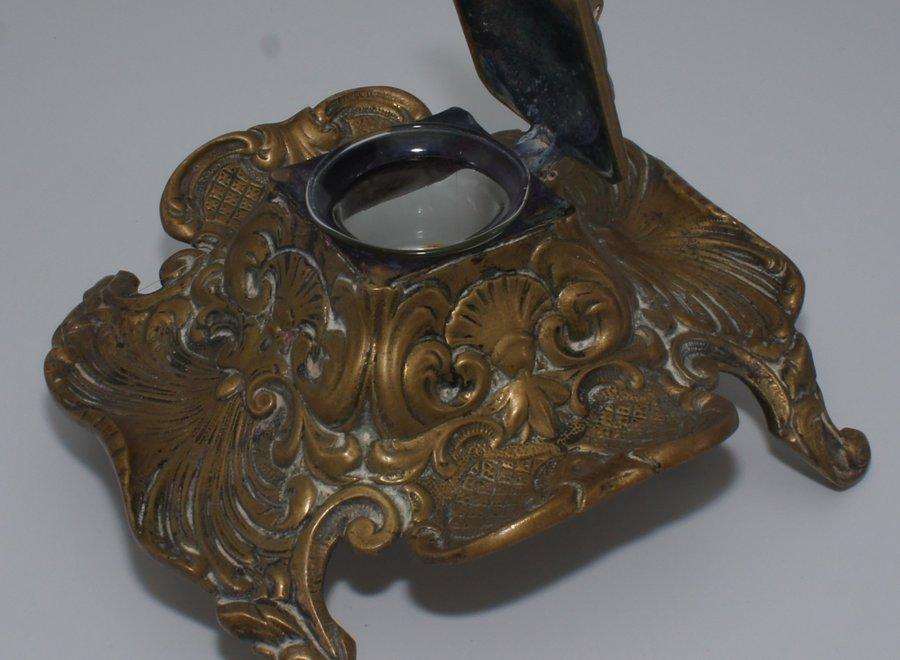 Bronzen Frans inktstel met glazen inktpotje - Ca 1920/1949
