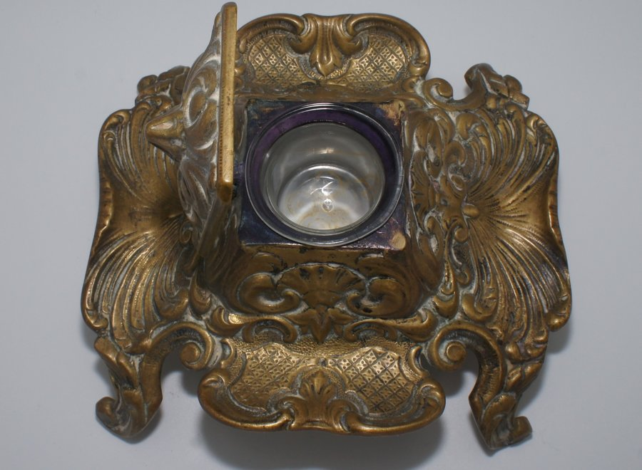 Bronze French ink set with glass inkwell - Ca 1920/1949