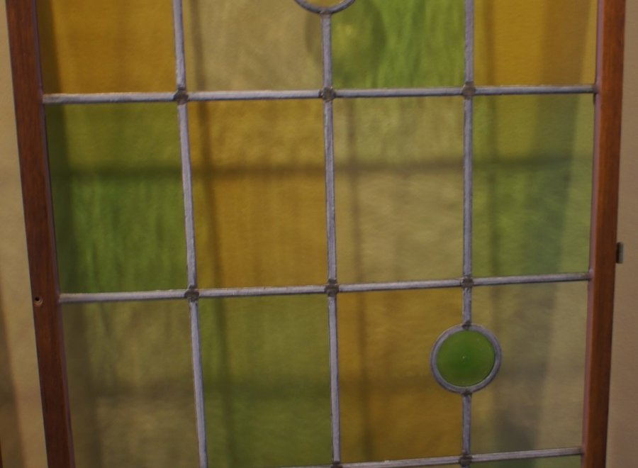 Authentic stained glass window - white, yellow, green