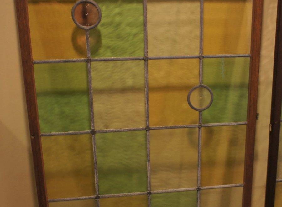 Origineel raam glas in lood - wit, geel, groen