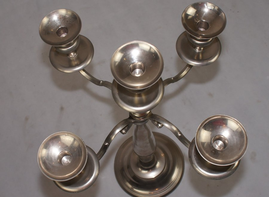 Large candlestick on a large round base with room for 5 candles - France - Mid 20 ° Century