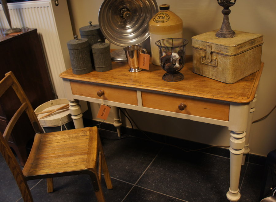 Console table from an old farmhouse - painted and waxed