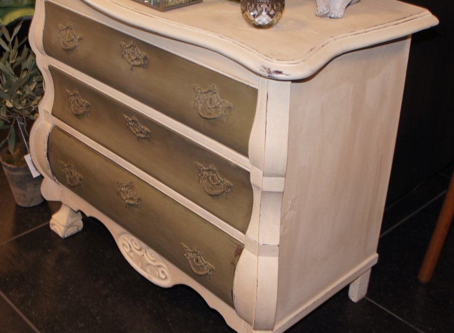 White and green patinated commode in country look
