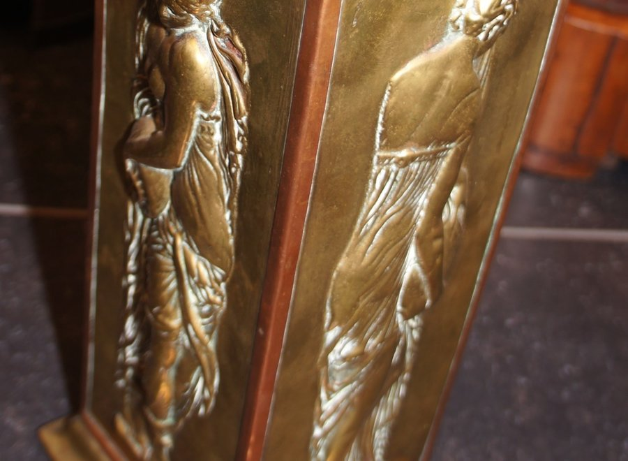 Oriental vase or umbrella stand - copper with stamp