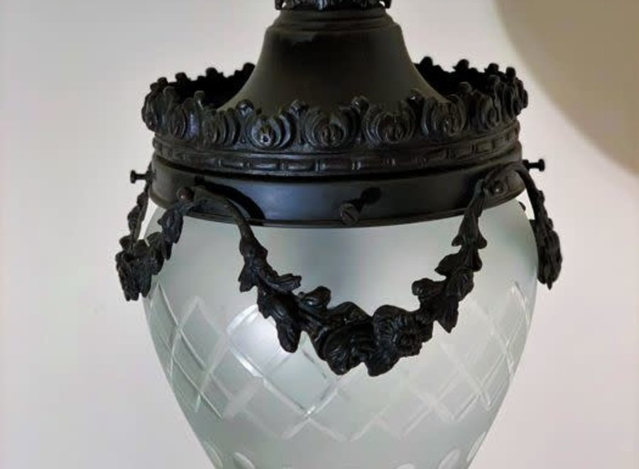 Bronze hall luster with crystal cut glass