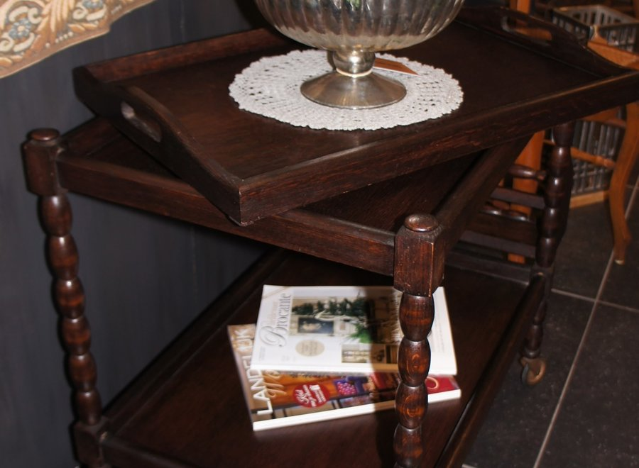 Vintage oak serving trolley with removable tray