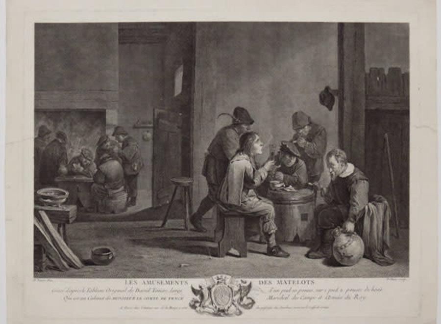 Ingekaderde ets naar David Teniers Pinx