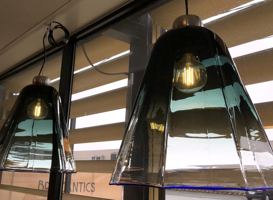 2 Leucos lamps - pure Italian design in shades of blue glass