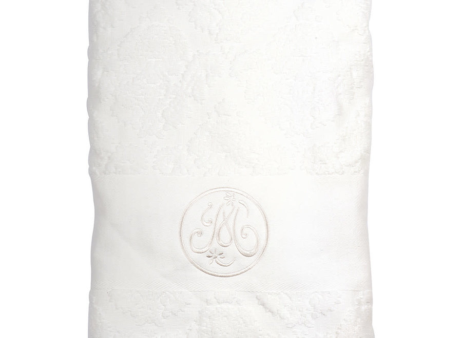 White embroidered bath towel