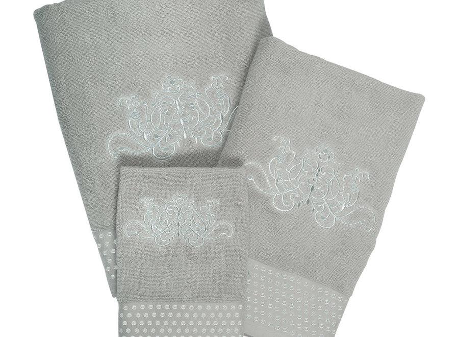 """""""Mathilde M"""" bath towel Arabesque - Linen color - 70 x 140 cm"""