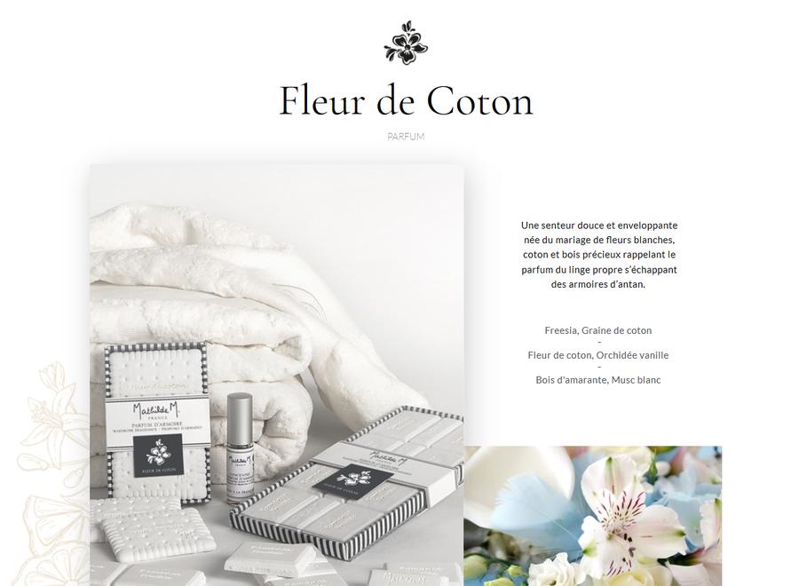 """Mathilde M"" wardrobe fragrance ""chocolate bar"" - Fleur de coton"