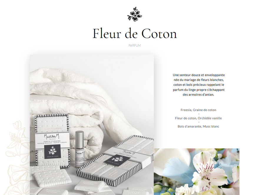 """Mathilde M"" wardrobe fragrance giftbox - Fleur de coton"