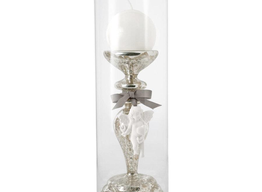 Kaarsenhouder H 34 cm met  glazen vaas