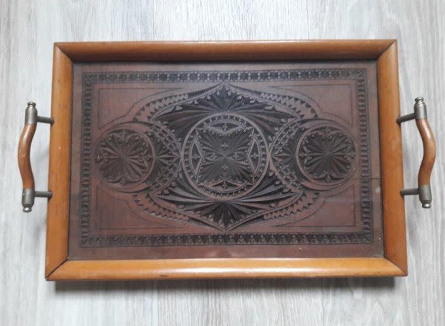Jugendstil - handgesneden houten dienblad