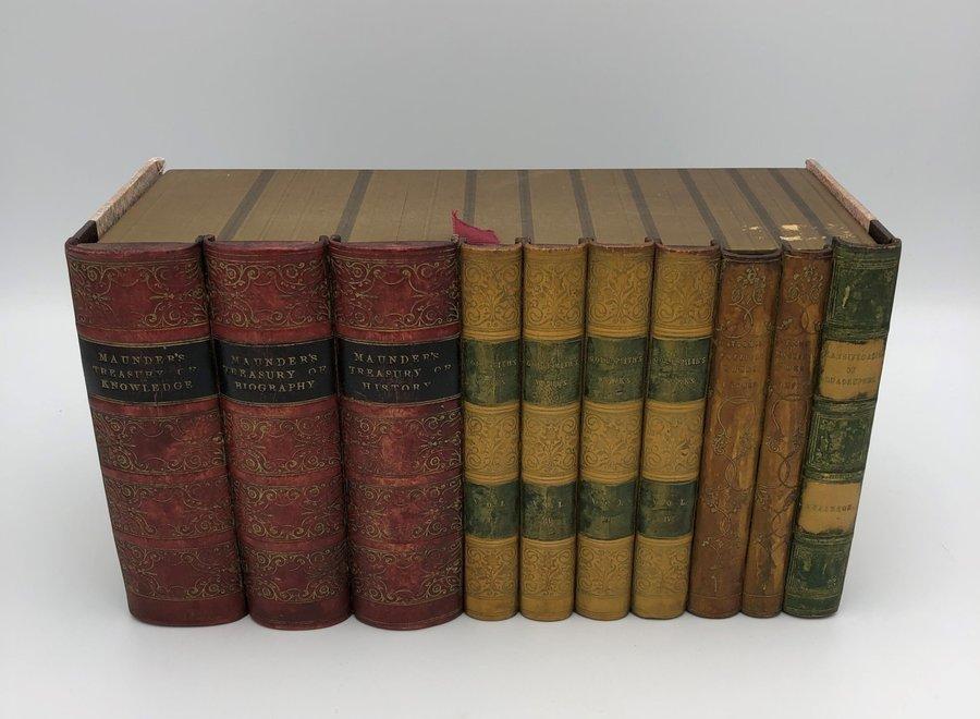 Book series storage box - leather, cardboard, paper