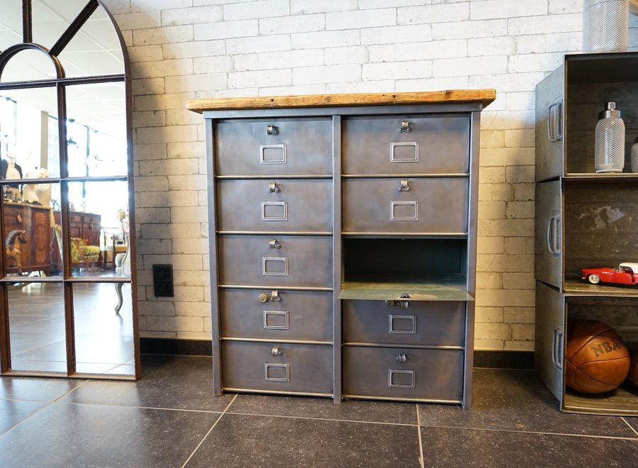 French Vintage Industrial 2 Column Strafor Cabinet