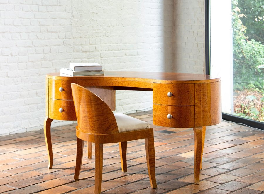 Art deco kidney-shaped ladies desk with matching chair