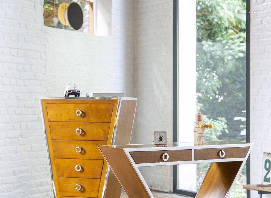 Console in art deco-stijl afgewerkt in esdoorn en chroom