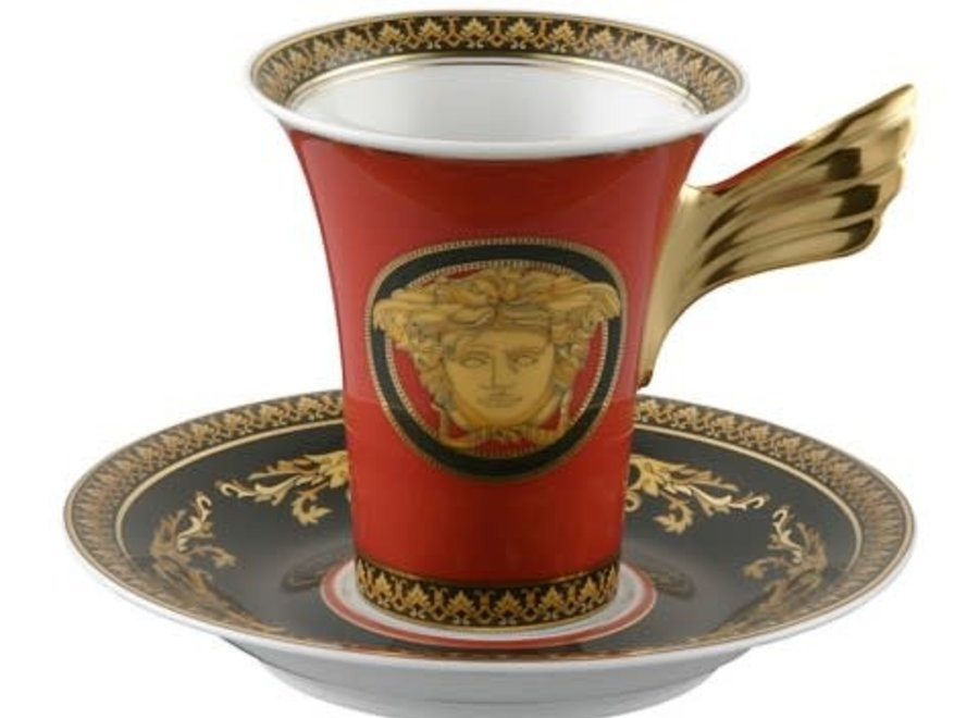 """Versace set """"Medusa"""" bestaat uit 2 borden, een koffiekop en schotel"""