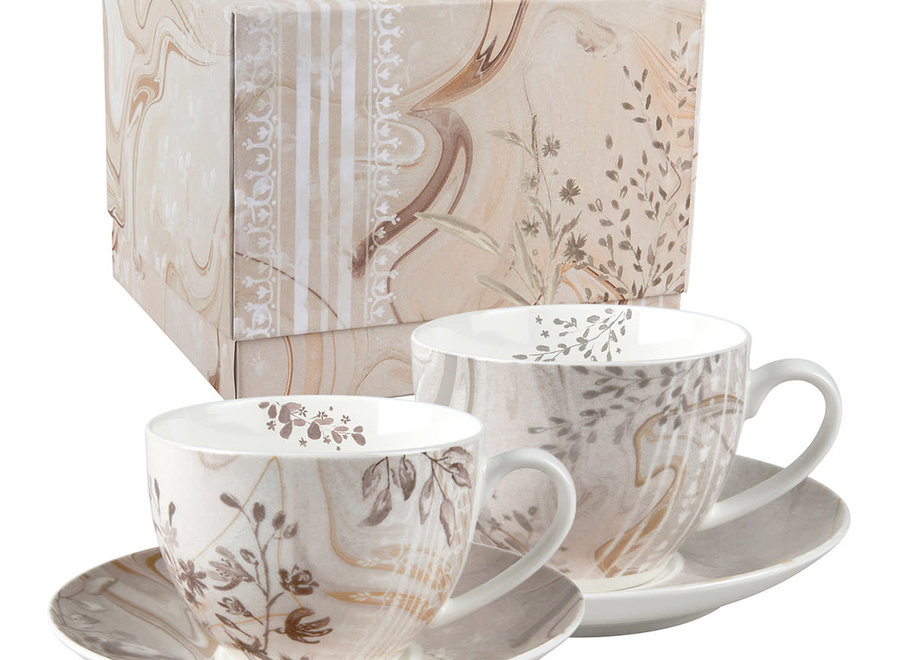 Gift box with 2 Palazzo Bello tea cups and saucers