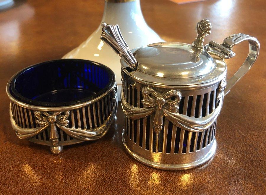 Edwardian silver spice set - Walker & Hall - UK 1909