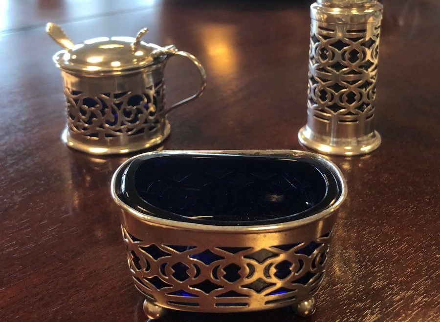 Edwardian silver spice set - Williams - Birmingham 1904