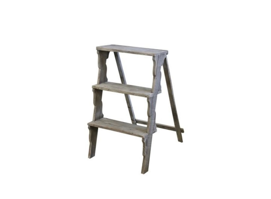 Ladder with 3 steps made of recycled wood