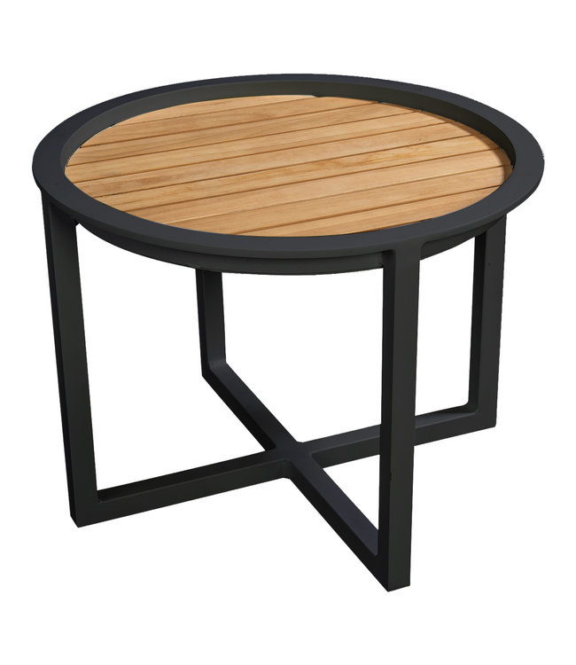 Beach7 QUEENS LOUNGETAFEL Alu/TEAK Ø 60CM