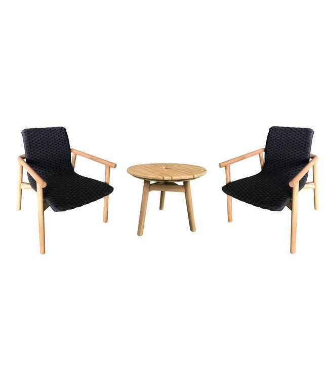 Guiño Picasso Lounge stoel teak - rope